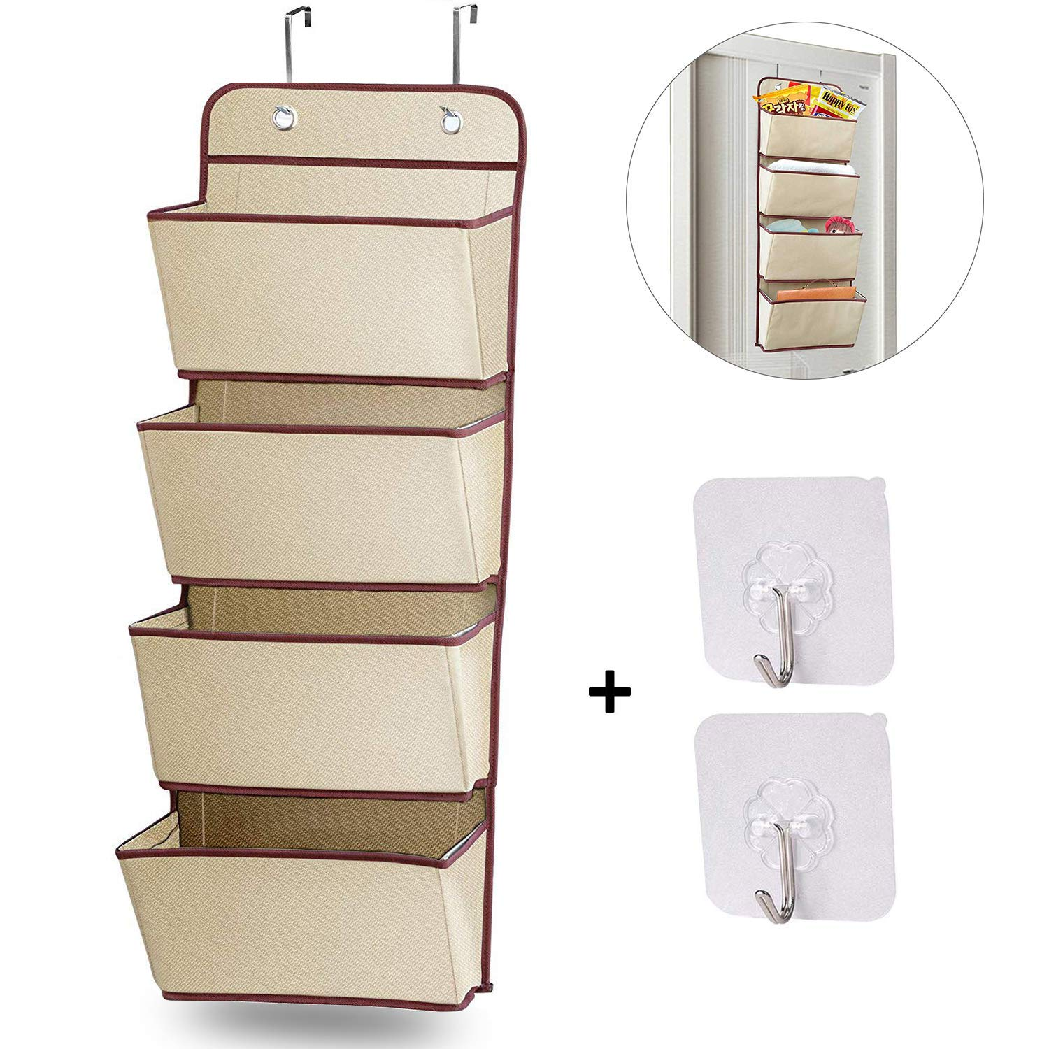 the best attitude 5ef31 cc8cc AMFINE Upgraded Over The Door Hanging Organizer - Closet Hanging Shelves -  Wall Mounted Hanging Storage Bags with 4 Pockets, Large (Simple-4P, Beige)