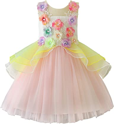 Kid Girl Tutu Tulle Pageant Wedding Party Ball Gown Princess Cake Skater Dress