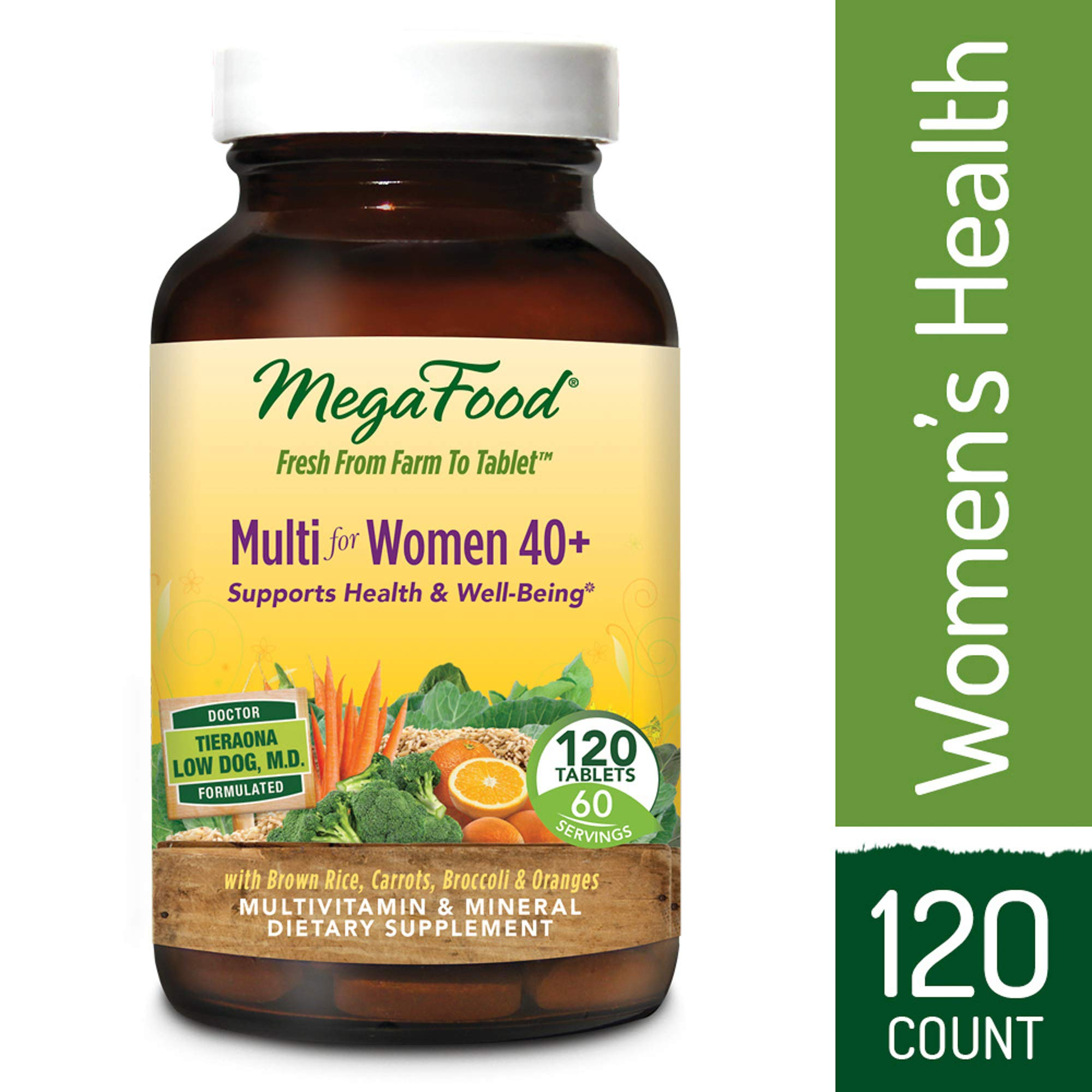 MegaFood - Multi for Women 40+, Multivitamin Support for Energy Production, Hormone Balance, Bone, and Brain Health with Methylated Folate and Iron, Vegetarian, Gluten-Free, Non-GMO, 120 Tablets