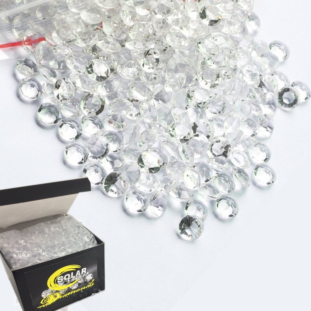800 Diamond Table Scatter Confetti 4 Carat/ 10mm Clear - Diamond Theme Party Supplies - Wedding Bridal Shower Party Decorations by SolarEscape