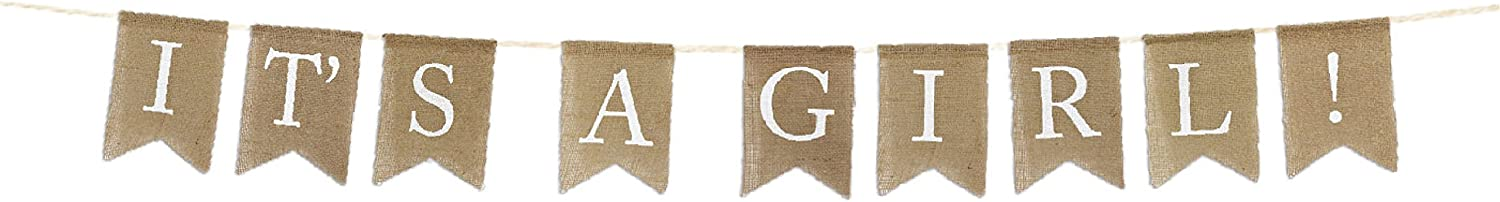 Andaz Press Real Burlap Fabric Pennant Hanging Banner It's a Girl!, Pre-Strung, No Assembly Required, 1-Set