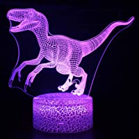 Refasy Dinosaur Night Light Remote Control 3D Illusion Lamp Dinosaur Toys for Kids