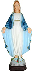 "Ferrari & Arrighetti Our Lady of The Miraculous Medal Outdoor Statue in Unbreakable Material, Rain-Resistant, Hand-Painted (11.8"" / 30cm Tall)"