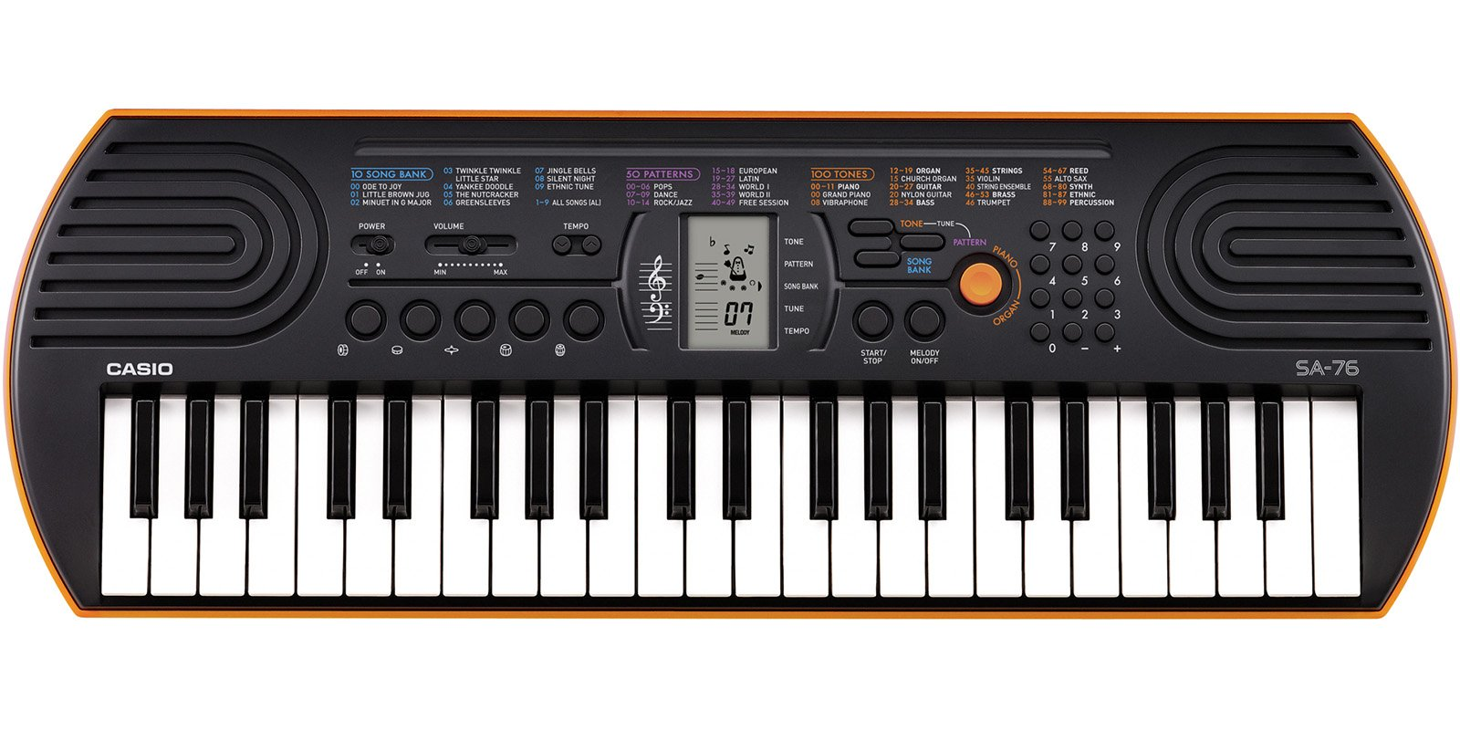 Casio SA-76 44 Key Mini Keyboard, Orange by Casio