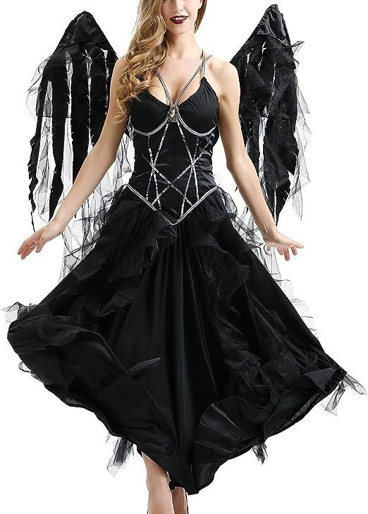 YCLOTH Disfraz de ángel Oscuro de Halloween, Wings + Dress Ghost ...