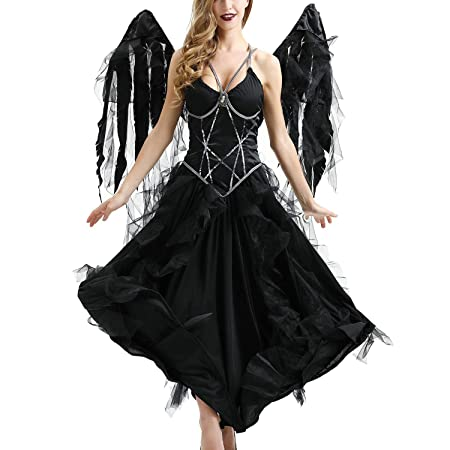 YCLOTH Disfraz de ángel Oscuro de Halloween, Wings + Dress ...