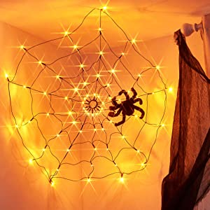 EAMBRITE LED Halloween Black Spider Web Light with 70 LED Waterproof Orange Net Lights and 1 Black Spider for House Yard Garden Indoor and Outdoor Scary Halloween Theme
