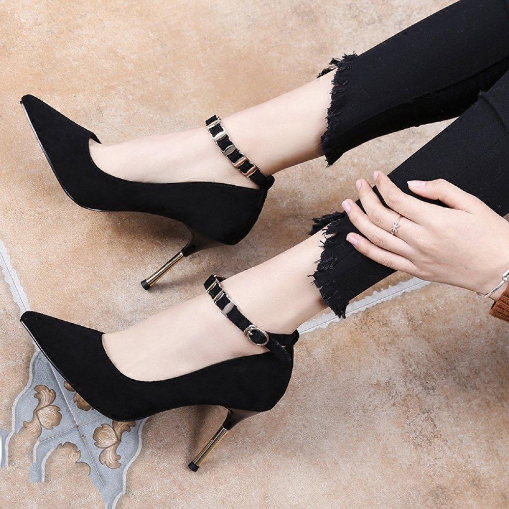 WLG Stilettos con Hebilla Salvaje Hebilla de Tacones Altos con Zapatos de Boca Baja Puntiagudos,Negro,36 36 negro