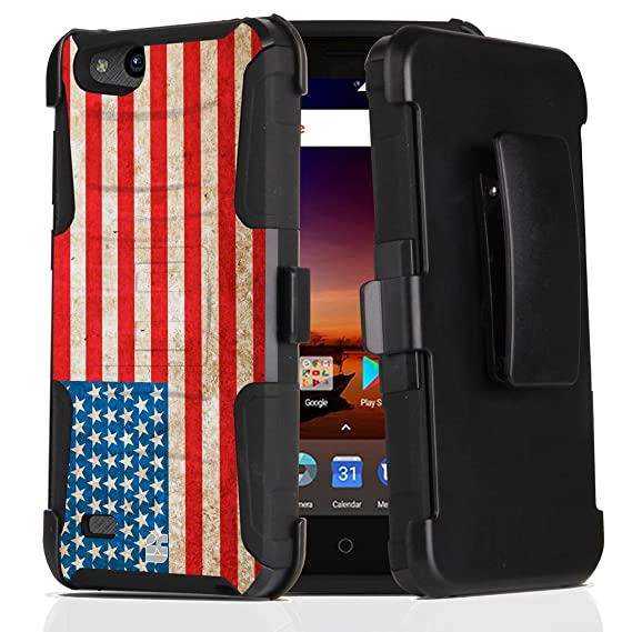 ZTE ZFive C LTE Z558VL Case - Dual Layer [Heavy Duty Protection] Rugged  Kickstand Case (Vintage America) with Rotatable Belt Holster Clip and Atom