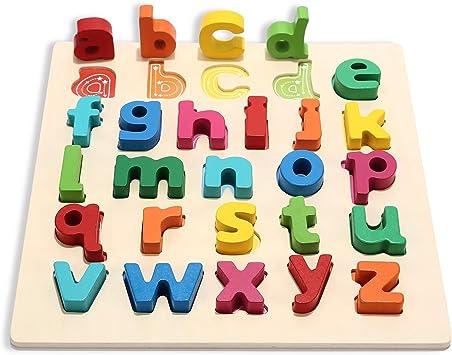 Jacootoys Alfabeto de Madera Juego de Mesa Preescolar ...