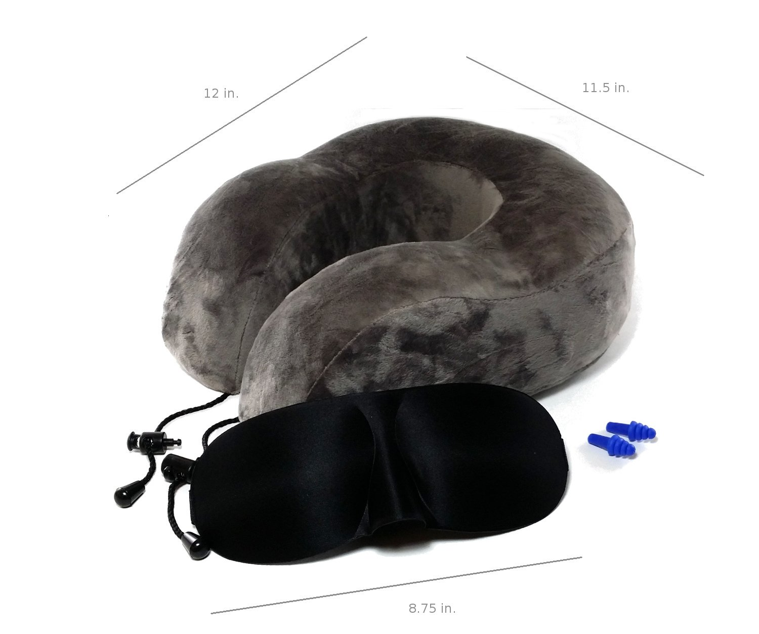 BucketList Central Nomad Premium Memory Foam Travel Neck Pillow with Bonus Sleep Mask and Ear Plugs Comfort and Support for Travel or at Home BLCNPB1605-P Gray