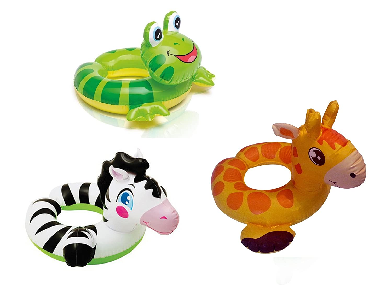 Amazon.com: Intex Animal Split Ring Pool Floats Set Bundle Includes Zebra, Frog Giraffe - 3 Pack (Assorted Designs): Toys & Games