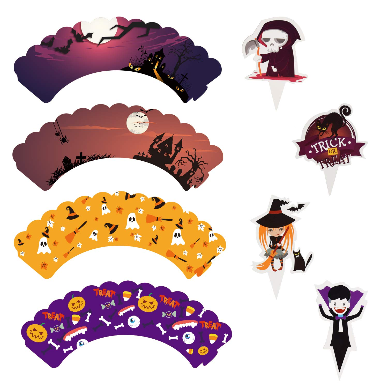 Four Different Types Toppers Wrappers for Cake Decorations MGparty 96 pcs Halloween Party Supplies-48 pcs Cupcake Toppers 48 pcs Wrappers