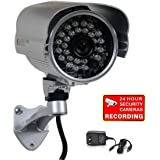 "VideoSecu 700TVL Bullet Security Camera Built-in 1/3"" SONY Effio CCD Weatherproof Day Night 3.6mm Wide View Angle Lens IR Outdoor for CCTV DVR Home Surveillance with Bonus Power Supply IR45HE WM5"