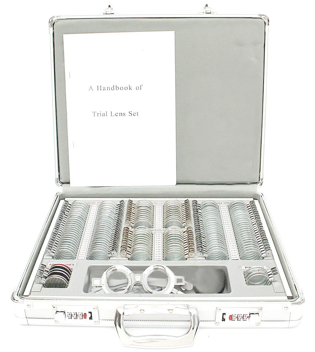 EFK-II Supply Optical 158 pieces Trial Lens Set Metal Rim Ophthalmic Trial case lenses with Aluminum Case
