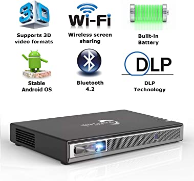 Mini 5500 Lumens Android Projector 4K DLP HD 1080P WIFI HDMI TF Built-in Battery