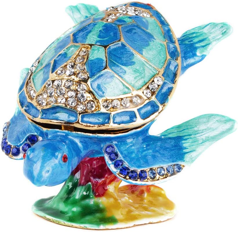 Surfing Sea Turtle Trinket Boxes Hinged,Crystal Jeweled Turtle Box,Hand-Painted Turtle Figurines Collectible