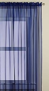 Editex Home Textiles Monique Sheer Window Panel, 55 by 84-Inch, Navy