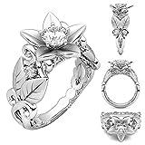 2018 Rings Daoroka Women Floral Transparent Diamond Flower Vine Leaf Rings Engagement Wedding Rings Jewelry Gift