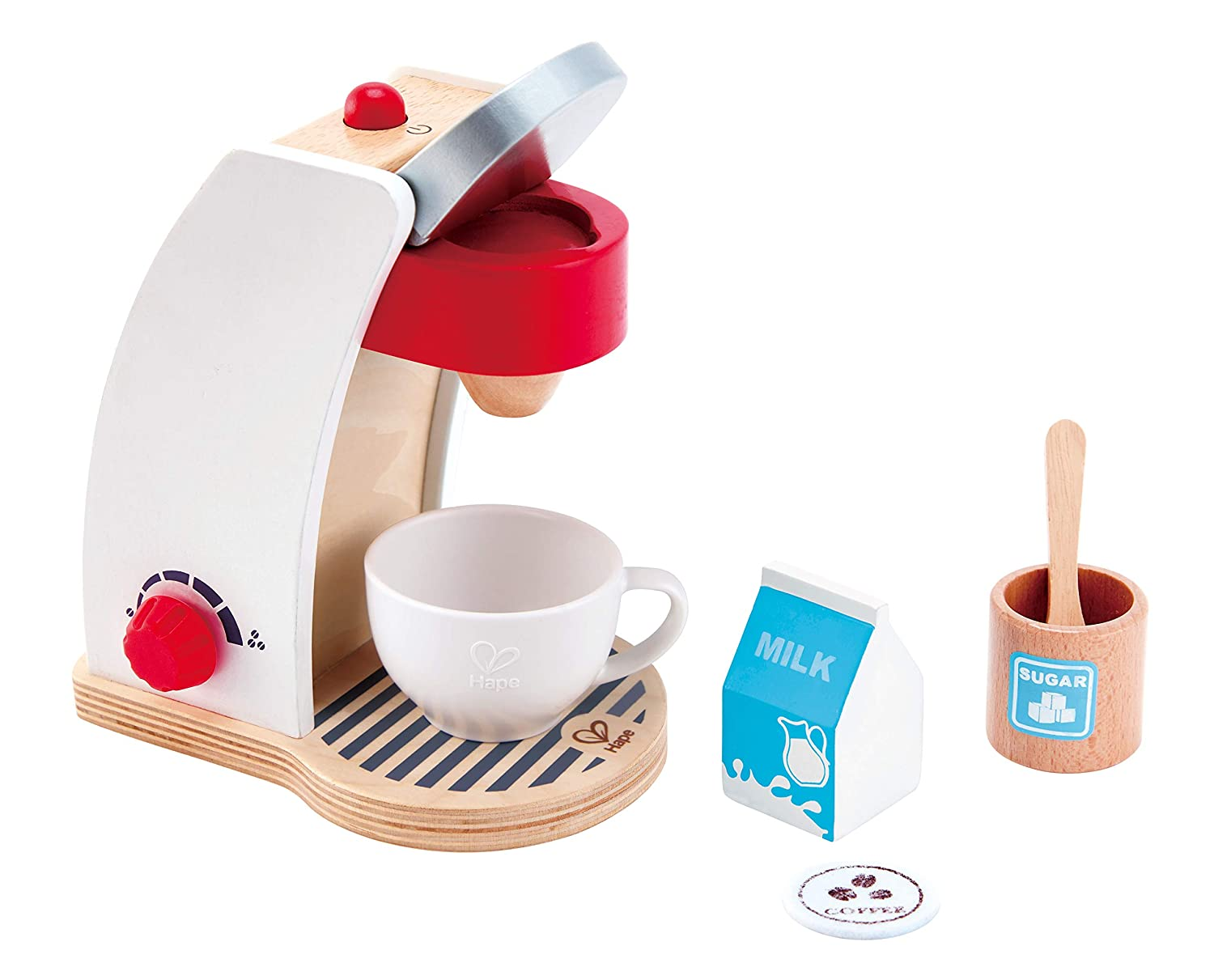 Hape My Coffee Machine Wooden Play Kitchen Set with Accessories (White)