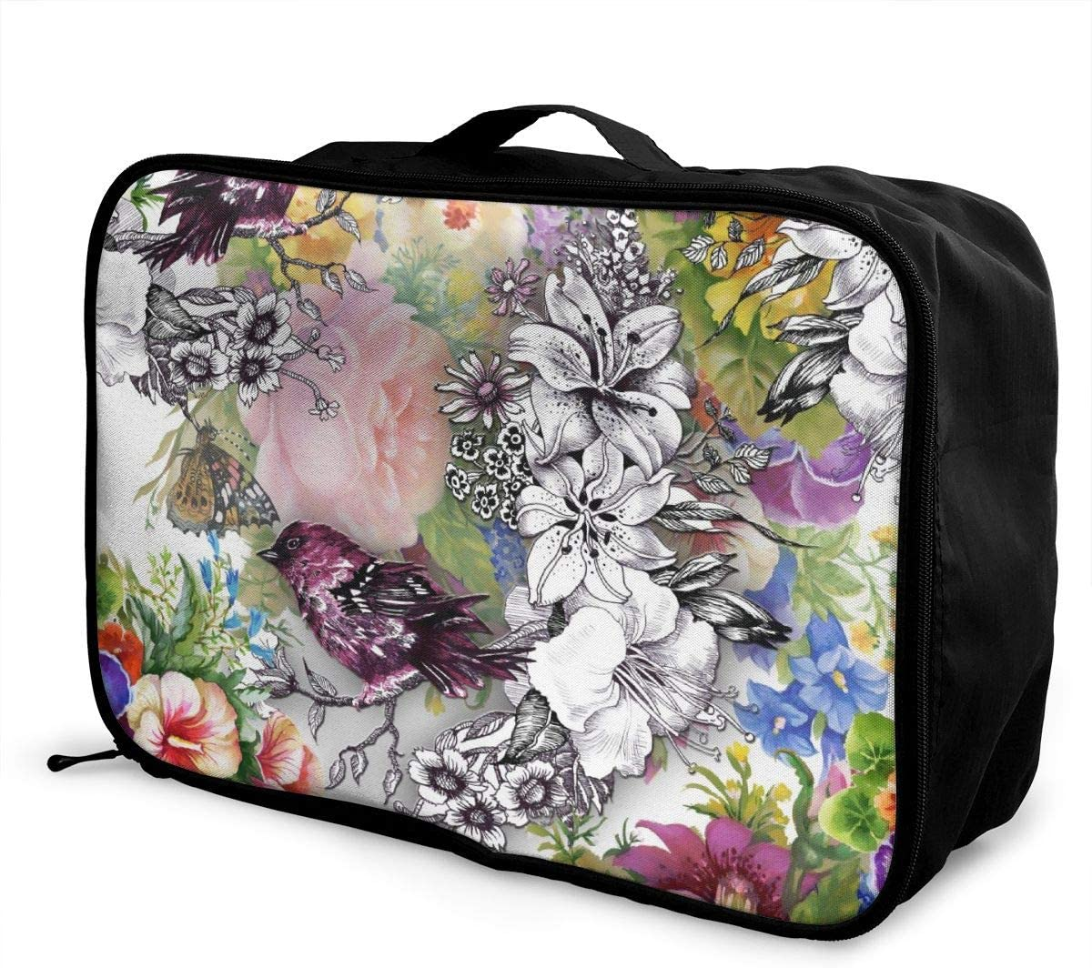 Yunshm Exotic Birds With Flowers Colorful On White Background Personalized Trolley Handbag Waterproof Unisex Large Capacity For Business Travel Storage