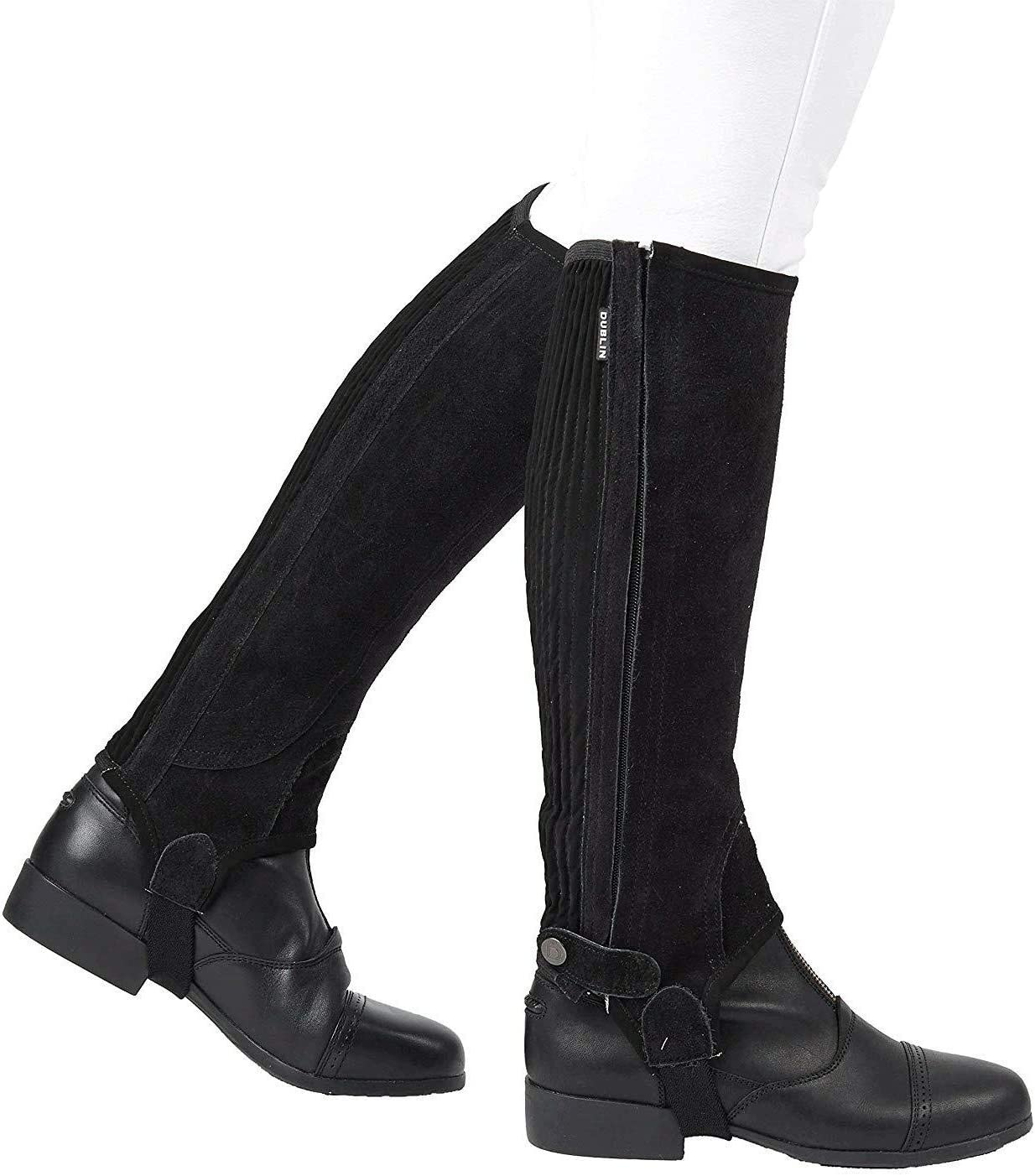 Shires Equestrian Suede Half Chaps Adult Black