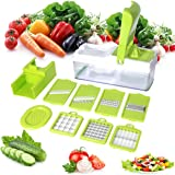 Mandoline 10 in 1 Food Cutter Slicer and shredder -Slices and Shreds Fruits and Vegetables Chopper, Vegetable Cutter Julienne Slicer Vegetable Slicer, Fruit and Cheese Cutter & Grater - By Duomishu