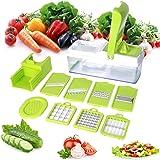 10 en 1 Multiusos Mandolina de Verduras Cortador de Patatas con 7pza Cuchillas y Exprimidor para Frutas Verduras Picadora de Alimentos -Duomishu