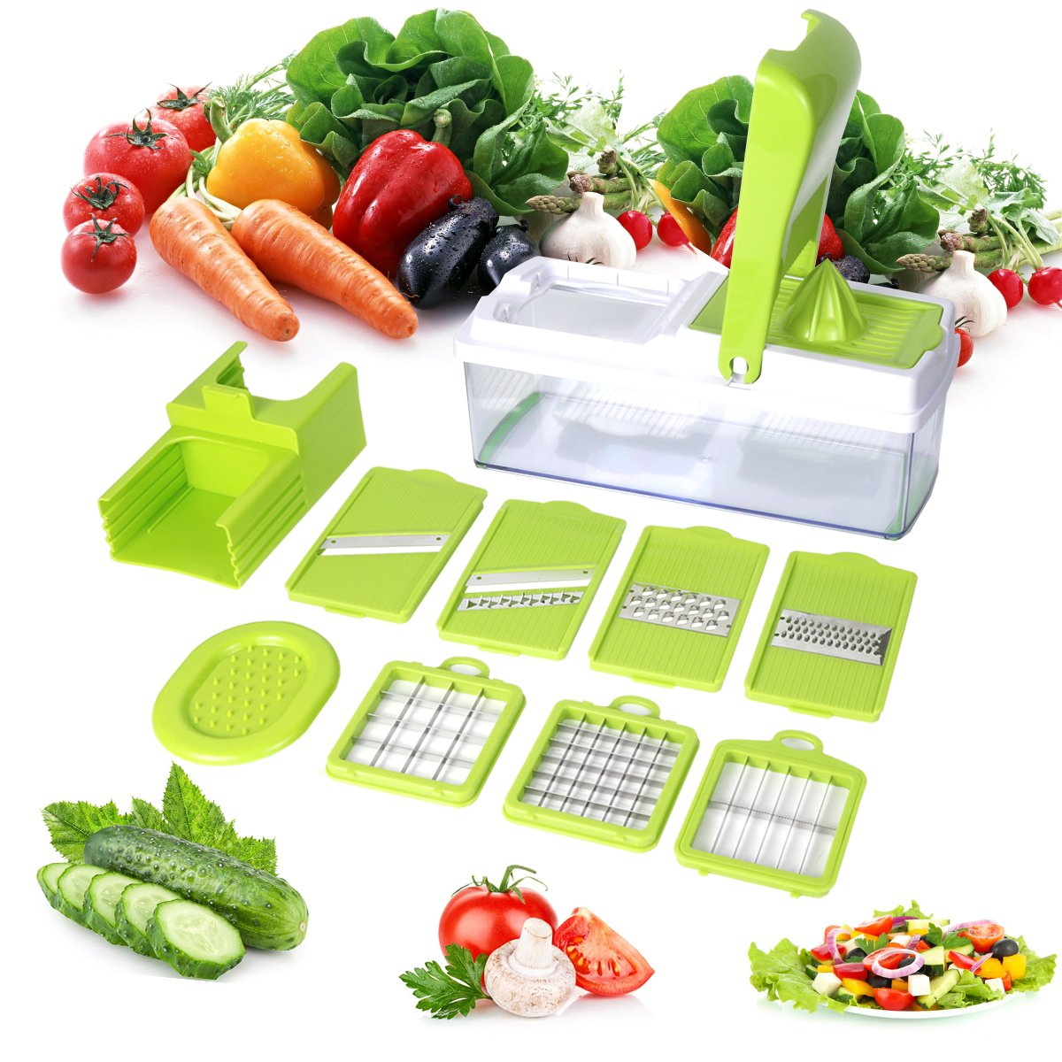 Mandoline 10 in 1 Food Cutter Slicer and shredder - Slices and Shreds Fruits and Vegetables Chopper, Food Container, Safety Food Holder, All-in-One Vegetable Cutter Vegetable Slic, Easter Day Gift Duomishu