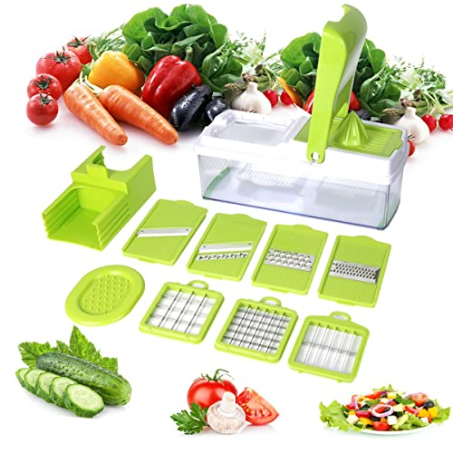 Mandoline 10 in 1 Food Cutter Slicer and shredder - Slices and Shreds Fruits and Vegetables Chopper, Food Container, Safety Food Holder, All-in-One Vegetable Cutter Vegetable Slic, Easter Day Gift