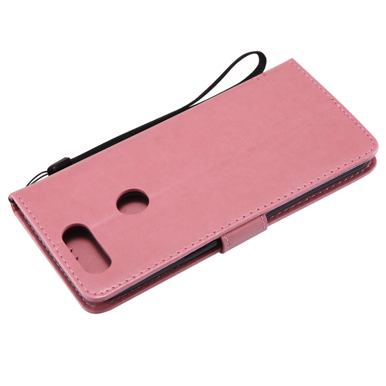 BONROY Coque OnePlus 5T,Etui OnePlus 5T /écran R/étro Emboss Premium Flip Housse Coque Etui Portefeuille Support PU Cuir pour OnePlus 5T-Rose S/érie de Chat et darbre