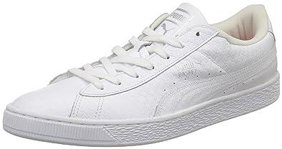 Puma Men's Basket Classic B&W Idp White Leather Sneakers 8 UKIndia (42 EU)