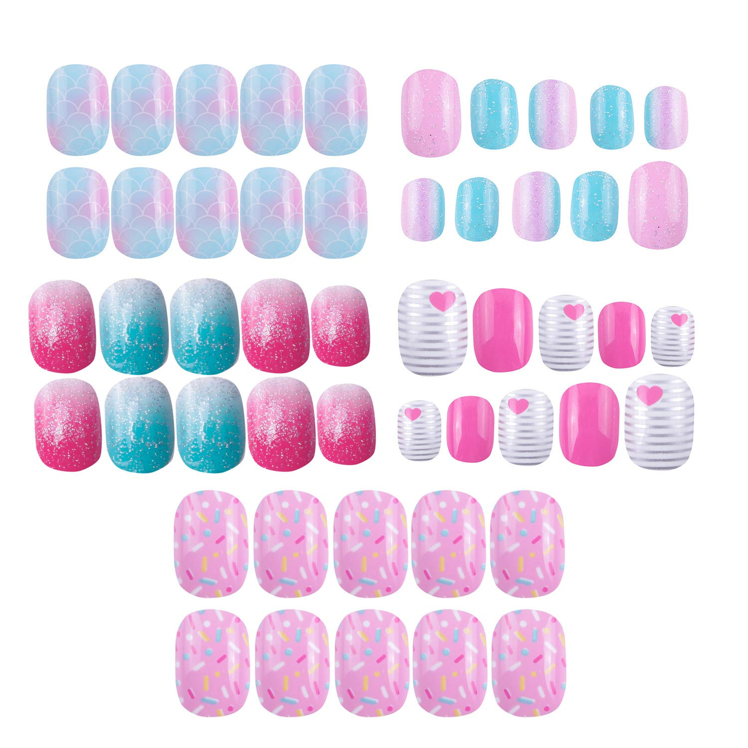 120 pcs 5 pack Children Nails Press on Pre-glue Full Cover Glitter Gradient Color Rainbow Short False Nail Kits Great Christmas Gift for Kids Little Girls - Multicolor Gradient Series by SIUSIO