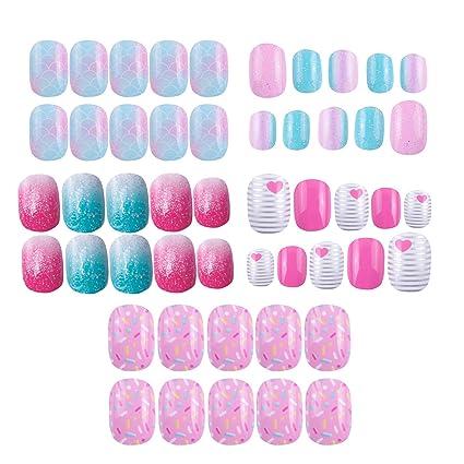Paquete de 120 uñas postizas para niños con purpurina y ...