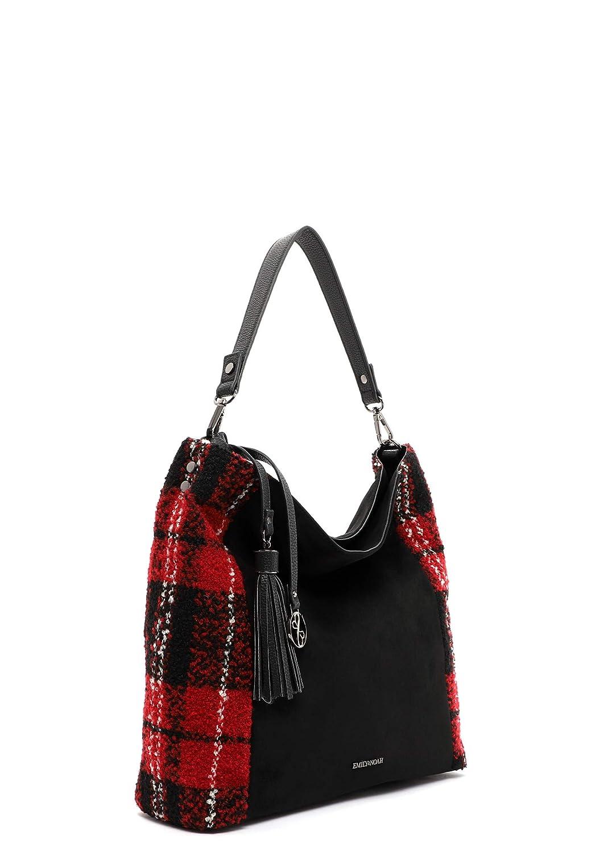 Emily & Noah väska Denise 62622 damer handväskor material mix Svart/röd 106