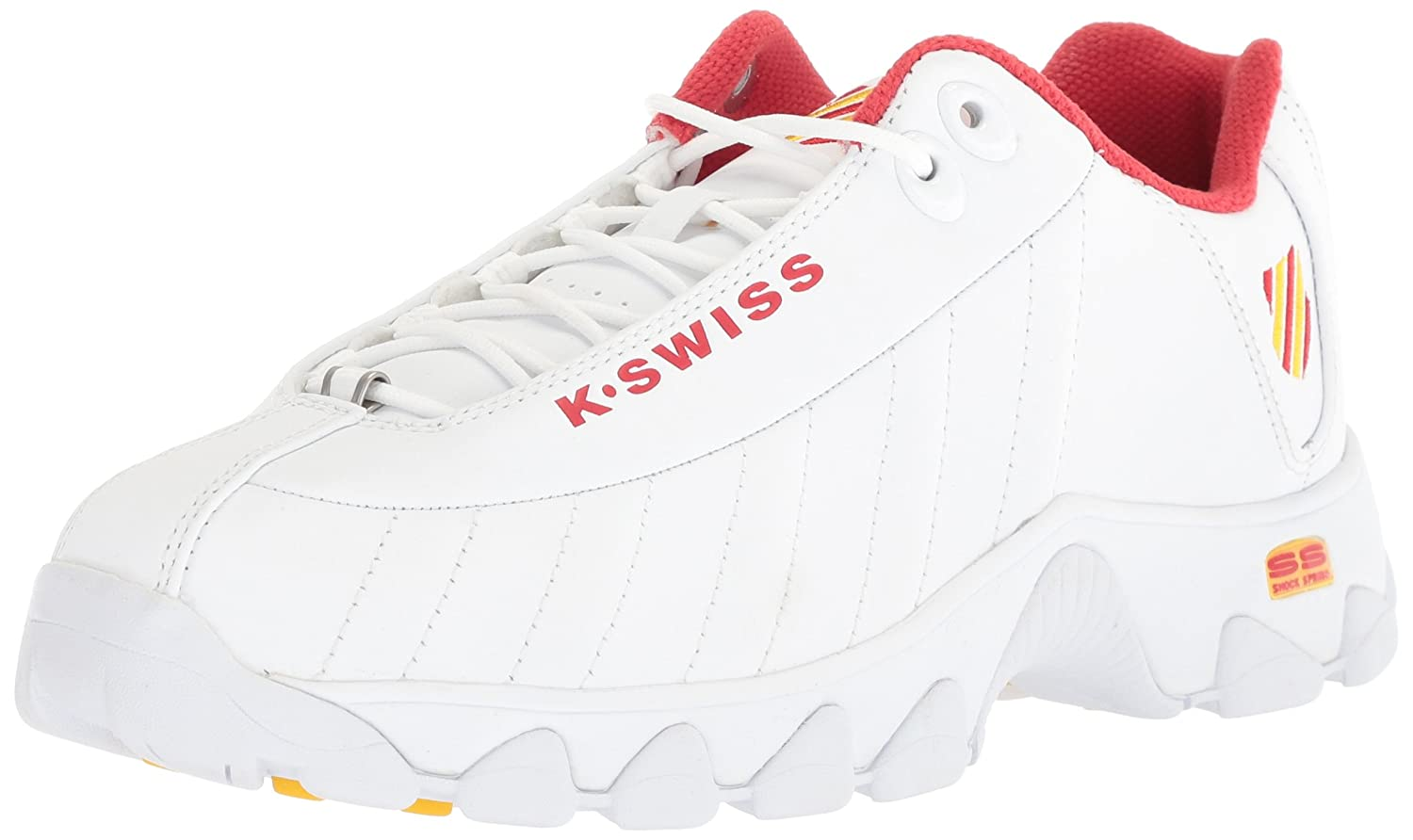 K-Swiss Mens ST329 Fashion Sneakers B073WPXW47 13 D(M) US|White/Red/Empire Yellow