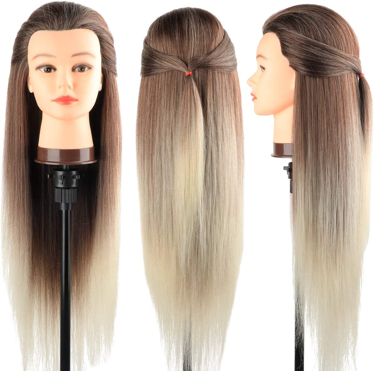 Cabeza maniquí, DanseeMeibr 66cm cabeza peluqueria Practicas Formación de la Cosmetología para trenza 100% de cabello sintéticas, cabeza de muñeca con Soporte de Mesa + Accesorios de Peinado C