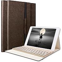 SENGBIRCH iPad Air Tastatur Hülle, iPad Air Case mit 7 Farbe Hintergrundbeleuchtung Ultra-dünn QWERTZ Bluetooth Tastatur und Auto Schlaf/Aufwach Funktion für Apple iPad Air 1, Braun …