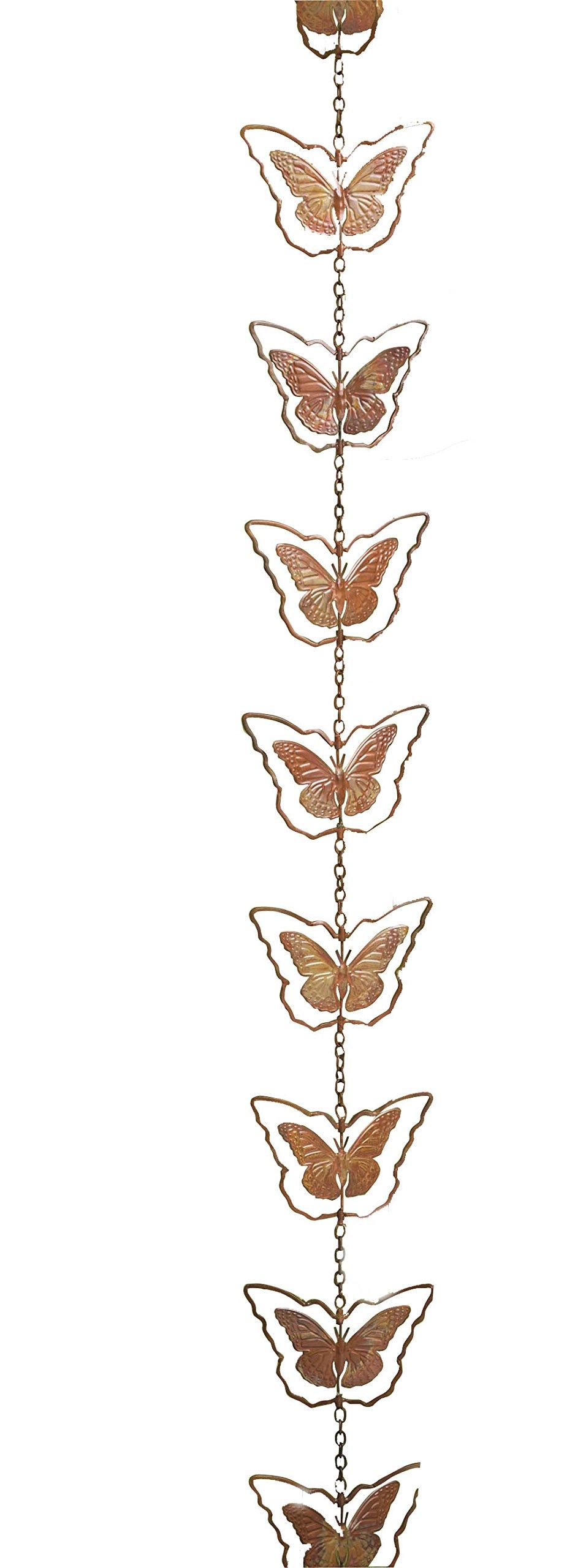 Ancient Graffiti Flamed Copper Butterfly Rain Chain, 5'' x 96'' x 5''