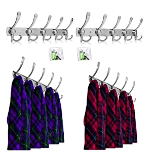 OGORI 2x 15 Hooks Stainless Steel Coat Robe Hat Clothes Wall Mount Hook Hanger Towel Rack