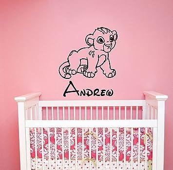 Custom name simba baby wall decal sticker lion king art disney decorations for home kids boys