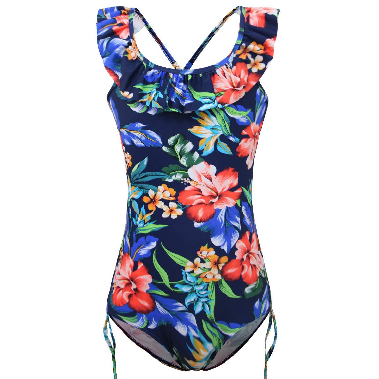 FBA KALAWALK Girls Floral Pattern Beach Sport 1 Piece Adjustable Bathing Suit Modest Ruffle Swimwear 5Y-15Y Swimsuit