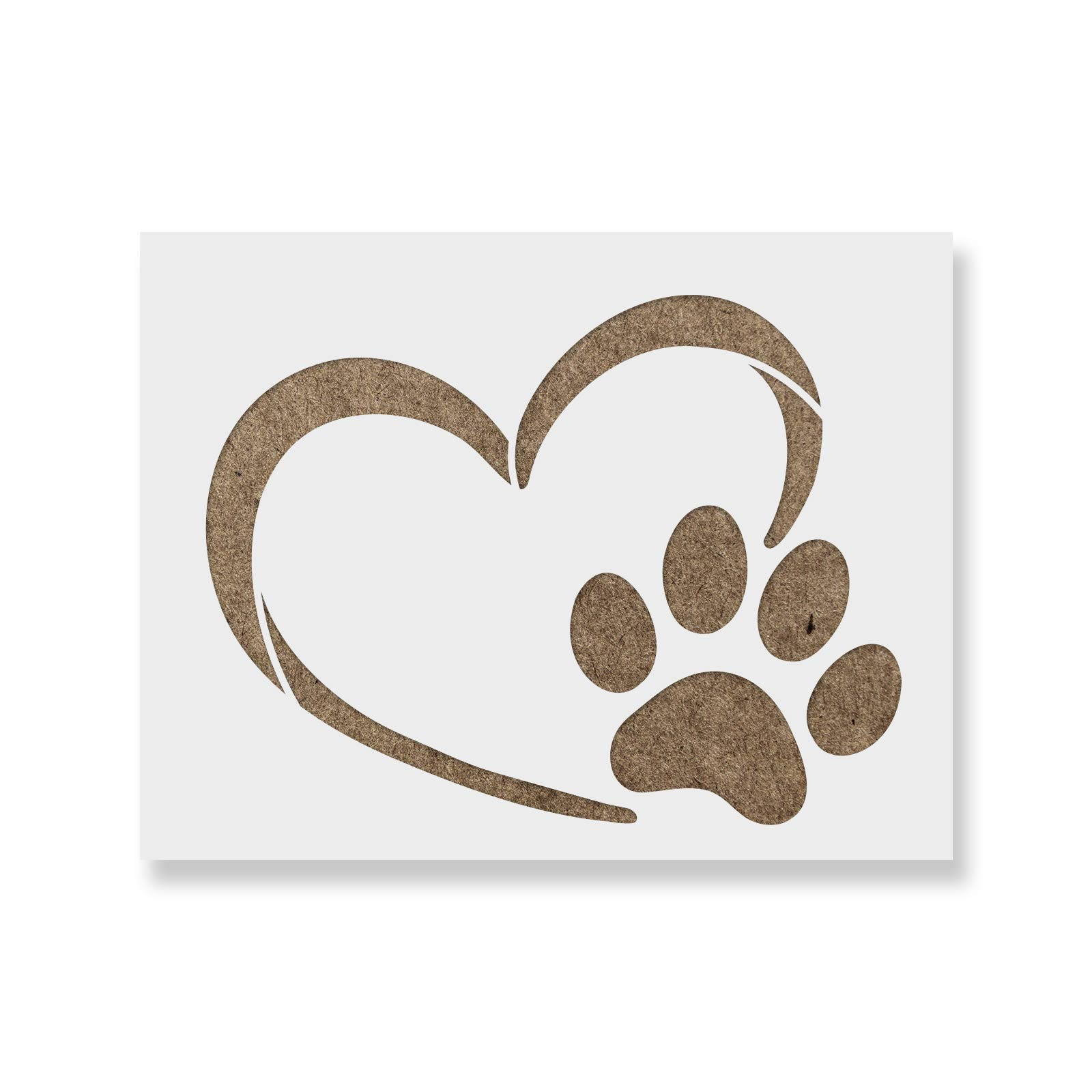 Heart Paw Stencil Template for Walls and Crafts - Reusable Stencils for Painting in Small & Large Sizes