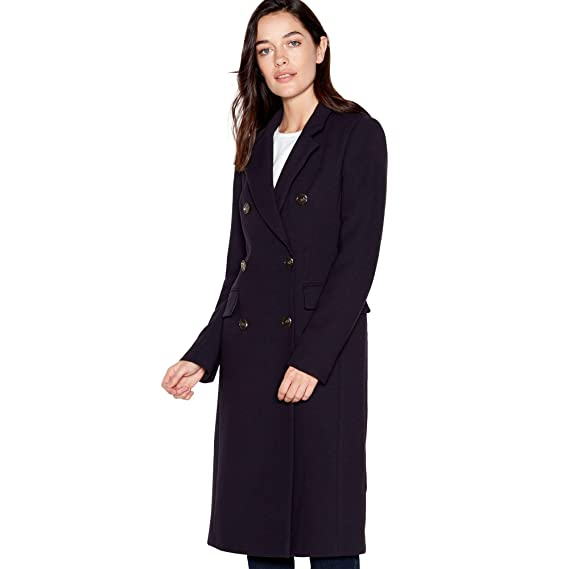 f0bdabdfa49a Principles Petite Womens Navy Double Breasted Petite City Coat ...