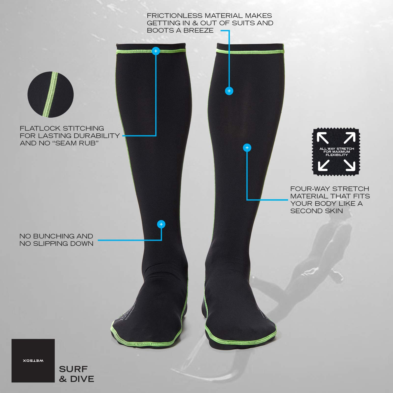 WETSOX Frictionless Wetsuit Boot Socks Slip Easily In/Out of Gear(Black, Medium) by WETSOX