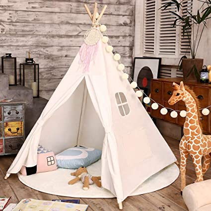 Amazon.com Love Tree Teepee Tent for Kids Indian Children Play Tent Fort Cotton Canvas Canopy Portable Playhouse for Indoor Outdoor with Carry Bag White ... & Amazon.com: Love Tree Teepee Tent for Kids Indian Children Play Tent ...