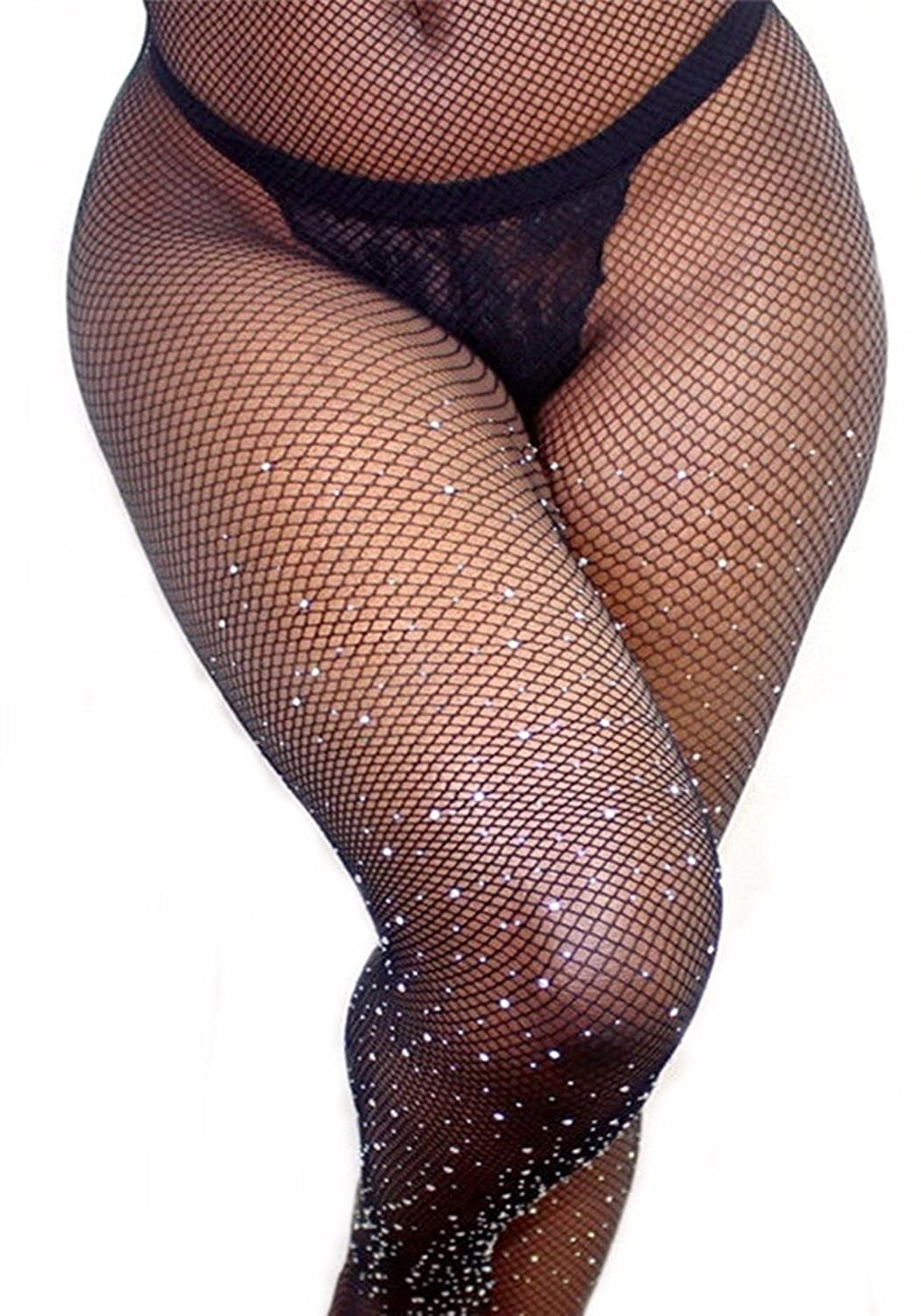 PrincessXOXO Women's Rhinestone Fishnets Tights High Waist Pantyhose Stockings Crystal Mesh