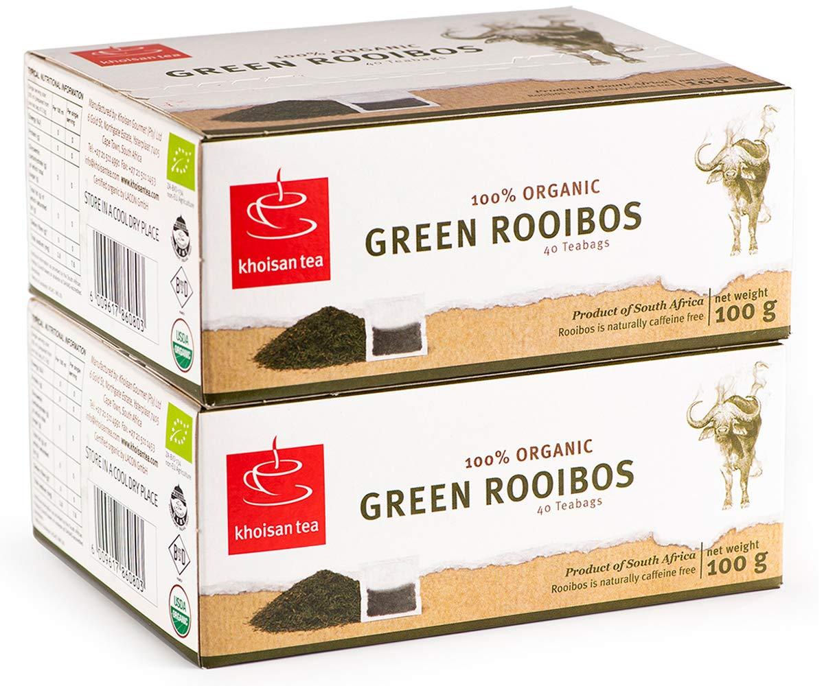 Green Rooibos Tea, USDA Certified Organic Tea from South Africa, Khoisan Tea, GMO Free and Naturally Caffeine Free Tea, Healthy Herbal Tea, 80 Teabags in total, Unfermented Rooibos