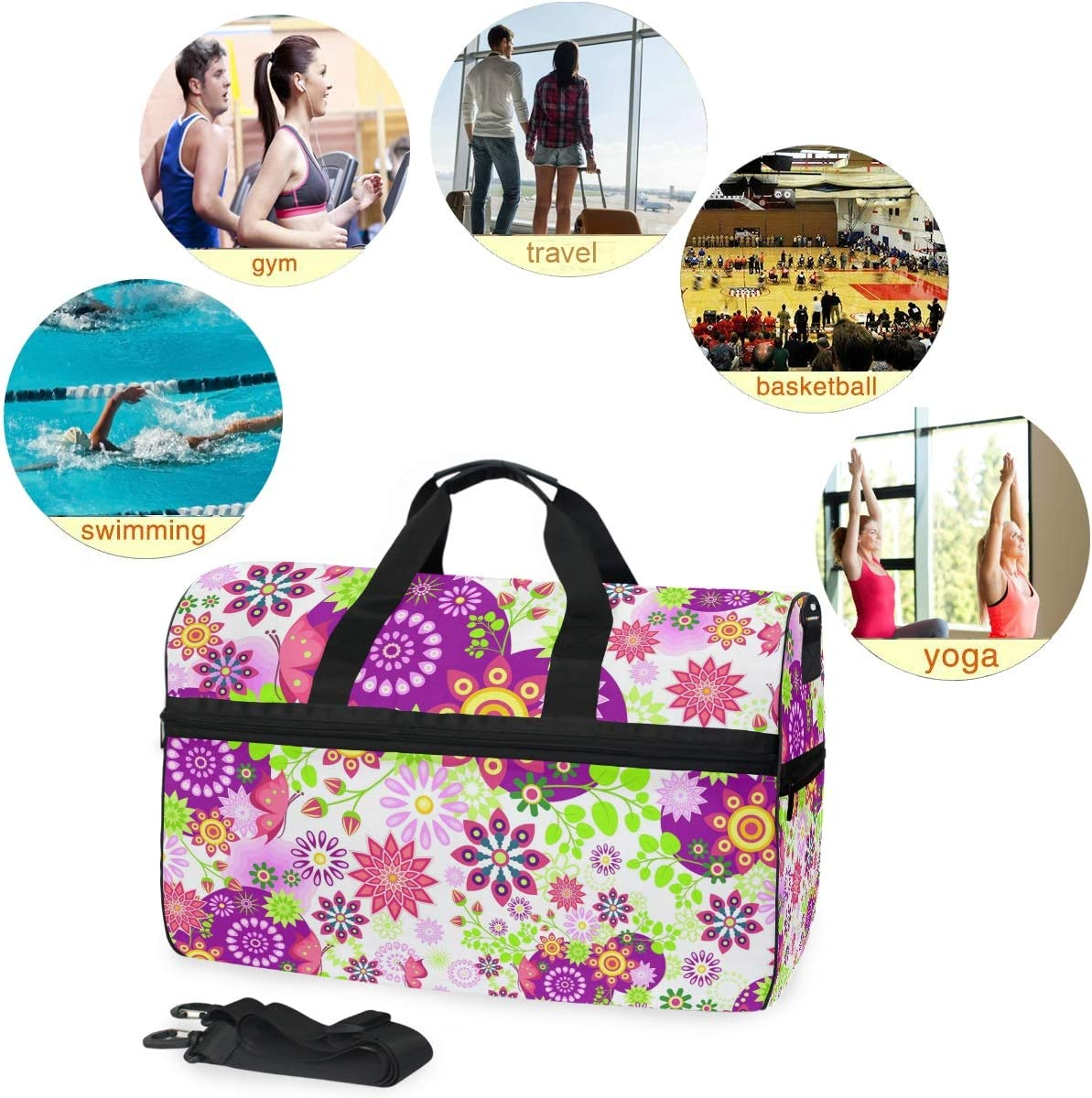 WIHVE Travel Duffel Bag Floral Colorful Gym Bag With Shoes Compartment