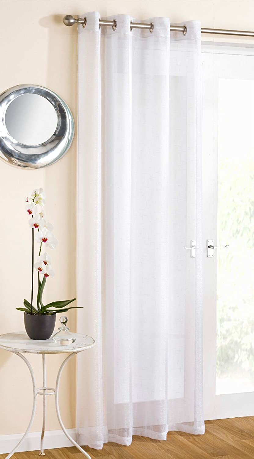 Marie Sparkle Glitter Voile Net Panel Curtain Eyelet Ring Top White 90 Drop Amazoncouk Kitchen Home